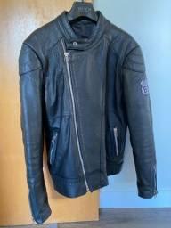 Jaqueta couro com patch Harley Davidson M