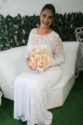 Vestido de Noiva Manga Longa - tam G