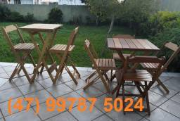Jogos de Mesa e Cadeiras De Madeira 100% Itaúba - Garantia Comprovada