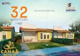 Casas no Condomínio Cidade Jardim I 2 Quatos c/ 1 Suíte I 44m I Lazer Completo