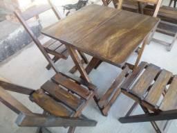 Mesas e cadeiras madeira maciça tamanho 70x70 com 4 cadeiras promoção
