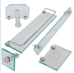 Kit banheiro Vildrex 5 peças em vidro temperado