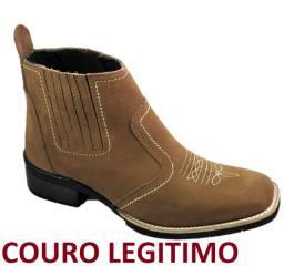 Bota country estilo texana bico quadrado botina couro legitimo solado costurado