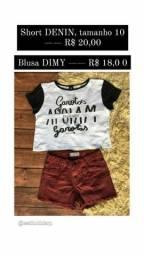 Short, blusa & calça jeans infantil.