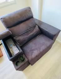 Sofá tipo Poltrona Preto 1 módulo - reclinável e retrátil