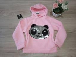 Blusa com pelinhos infantil tamanho M do panda
