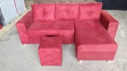 sofá de 3 lugares com chaise longue + puff (entrega garantida)