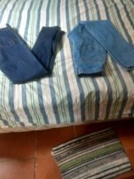 Duas calças jeans feminina skiner cintura alta