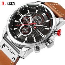 Título do anúncio: Relógio Curren com cronógrafo, caixa em aço inoxidável e pulseira de couro PU.