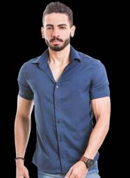 Camisa social masculina manga curta.