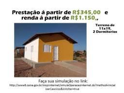 Casa Nova, barata e financiada, sem taxa de prefeitura e cartório