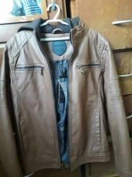 Jaqueta de couro marrom importada
