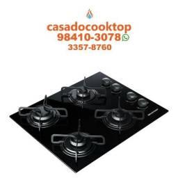 Fogao Cooktop 4 bocas Brastemp com Grades Piatina e Acendimento Automático - BDD61AE