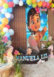 Painel Festa Lona Fosca 2,0 Por 1,0 Moana Baby Vertical