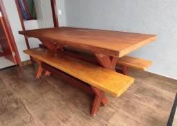Mesa 2 metros madeira angelin pedra