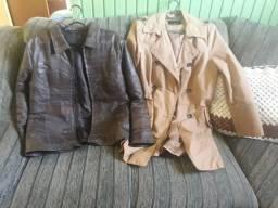 2 casacos 1 d couro outro poliéster os 2 são tamanho M