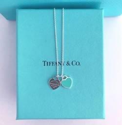 Colar Tiffany Coração Duplo Azul Prata 925