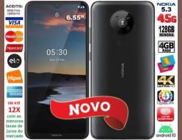 """Nokia 5.3 OctaCore, 128GB, 4GB Ram, Tela 6.55"""", 4Câm 13MP, Novo, Caixa, NF, Gar, Troco"""