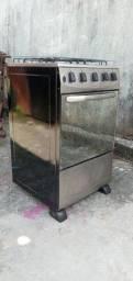 Fogão inox esmaltec funcionando as 4 bocas e forno!!