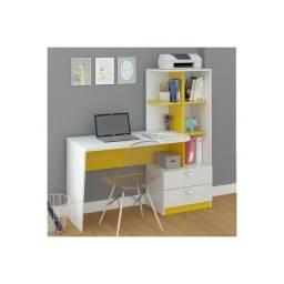 Título do anúncio: Escrivaninha com estante perboboli branco/amarelo