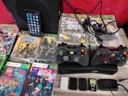 X box 360 HD 250 + Kinect + 40 jogos + celular Samsung J4