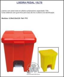 Lixeira pedal 15lts cores seletiva separação do lixo