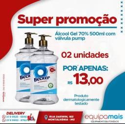 Álcool  Gel 70% 500 ml c/ válvula Pump - Becker