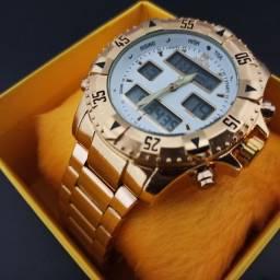 Relógio masculino dourado grande digital