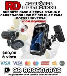 SUPORTE CASE A PROVA D'ÁGUA E CARREGADOR USB ISQUEIRO DE CELULAR PARA MOTOS UNIVERSAL