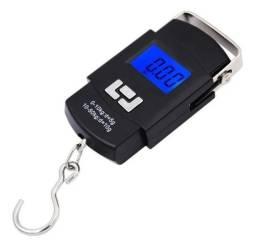 Balança Digital Portatil 50kg Com Gancho Ideal P/ Pesca Mão Bolsa Mala
