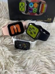 Smartwatch K8 - notificações WhatsApp exercícios físicos, faz e recebe ligação