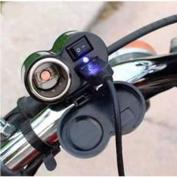 Tomada Usb 12v E 5v Moto Carrega Celular Gps