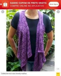 Colete de tricô roxo Grondy malhas tamanho único- 100 % acrílico