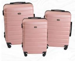 (H)  kit com 3 Malas de viagem ABS 360° Rose Golden Nova