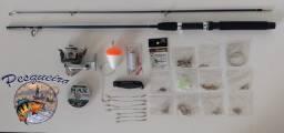 kit de pesca 170 itens + vara de pesca 1,60 + molinete pequeno + 100 mt de linha