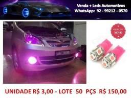 Lote  Pingo Leds Rosa  T10  Kit 50 Unidades