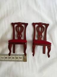 Mini cadeiras de madeira jantar casa de bonecas pronta delprado