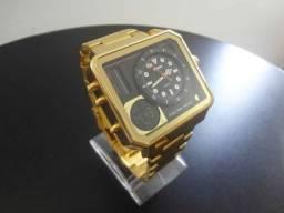 Relógio Quadrado Dourado Skmei Grande Dual Time à Prova D'água 3ATM 100% Novo/Original