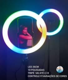Ring Light Colorido 10 Polegadas 26cm Tripé 2 M Suporte De Celular E Controle