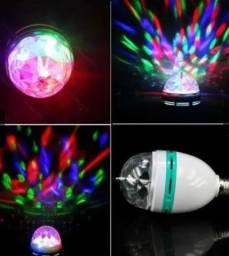 Lâmpada Giratória Led Rgb Bola Maluca Iluminação Festa e Ambiente Particular