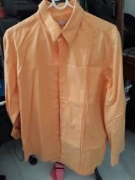 Camisa social salmao zoomp tam G justa ou M normal