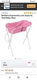 Banheira para bebê infantil com suporte rosa ergométrica Tutti Baby