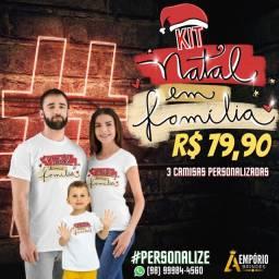 Kit 3 camisas personalizadas natal