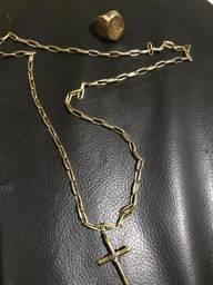 Kit cordão cartie 18k pingente com ouro branco e anel 18k cifrão