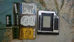 3 hd de notebook e 4 memórias e um adaptador de hd