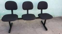 Cadeira Longarina Secretária Com 3 Lugares