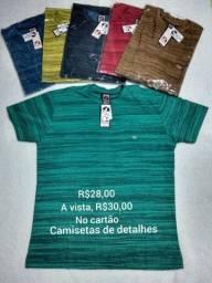 Camisetas em detalhes de riscos