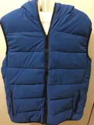 Colete Unissex Azul Com Forro De Pelos Para Frio Tamanho P