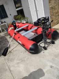 Barco inflável com chão de alumínio motor novo start1