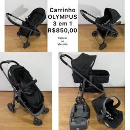 Kit Carrinho Olympus 3 em 1 + bebê conforto + base